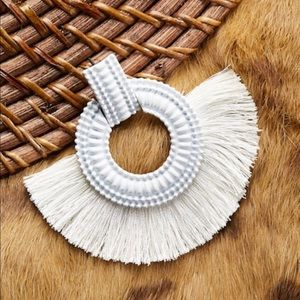 Jewelry - Textured White Hoops With Fringe